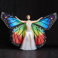 Wholesale wings for dancing resale online - 2019 Performance Women Dancewear Stage Props Polyester Cape Cloak Dance Fairy Wing Butterfly Wings for Belly Dance with sticks