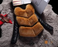 Wholesale Rabbit Hair Collars - Women's Coats Rabbit Hair Jacket Black White Fur Overcoat Imitation Rabbit Fur Faux Fox Collar Faux Fox Fur Jackets