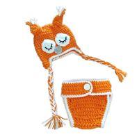 Wholesale Owl Crochet Set - Newborn Knit Owl Costume,Handmade Crochet Baby Boy Girl Orange Sleepy Owl Hat and Diaper Cover Set,Infant Halloween Costume Photo Props