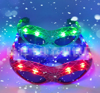 ingrosso vetri fluorescenti-Led sparkler flicker spider glasses new lens bambini luce lampeggiante fluorescente palla Halloween Dance Party B4697