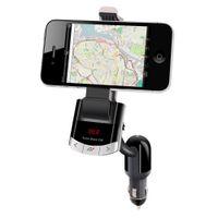 Wholesale Cigarette Lighter Kit - Wholesale-Bluetooth Car Kit FM Transmitter Phone Mount Car Holder With Handsfree Calling Cigarette Lighter Charging for iPhone Samsung