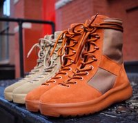Wholesale Thick Sole High Heel Boots - 2017 Kanye West Boost 1:1 Quality New Season 3 Suede Leather Snow Thick Soled Men High Boots 350&350 v2&750 boost