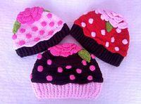 Wholesale Cupcake Hats Wholesale - Ice cream Sundae Cupcake Crochet Flower Hat Baby Girls Winter Hallowmas Christmas Cap Newborn Infant Toddler Kids Princess Children Beanie
