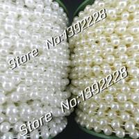 weiße gerollte blumen großhandel-Wholesale-25m / Roll Pearl Garland 6mm Weiß / Beige Perlen DIY Hochzeit Blumen Dekoration Weihnachten Festa Event Supplies