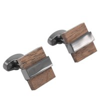 Wholesale Wood Cuff Links - Luxury Wood Cufflinks For Mens High Quality Brown Cuff Links Laywer Wedding Gift French Shirt Cuff Links Gemelos Cordao Masculino