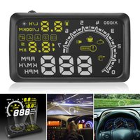 hud display obdii achat en gros de-5.5 Pouces Auto OBDII OBD2 Port Voiture Hud Head Affichage KM / h MPH Survitesse Avertissement Pare-Brise Système D'alarme CAL_409