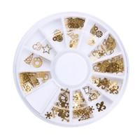 ingrosso adesivi a prua-12 Slot Gold 3D Design Natale Nail Sticker Bling Archi Nail Art Stickers per manicure Decalcomanie per le unghie delle donne Decorazione