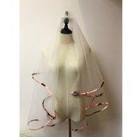 bilder für hochzeitsschleier groihandel-Rosa CAMO Hochzeits-Schleier-Band-Rand Zwei-Schicht-kurzer Brautschleier-reales Bild
