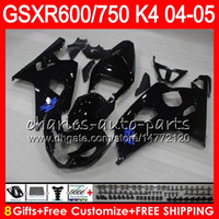 Wholesale k4 fairings - 8 Gifts 23 gloss black Colors Body For SUZUKI GSX-R600 GSXR750 GSXR600 04 05 9HM32 GSX R600 R750 K4 GSX-R750 GSXR 600 750 2004 2005 Fairing