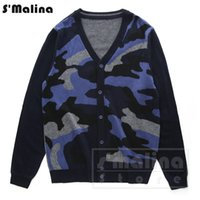 Wholesale Men Leather Sleeves Sweater - Men's Fashion color camouflage skull leather soft Merino wool knitting cardigan sweater v neck DS056