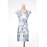 Wholesale Chinese Top Dresses - Top Fashion 2017 New Chinese Classical Dress Cheongsam Outfit Knitting Flexibly Self-cultivation Qipao Runway Dresses Slim