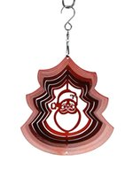 Wholesale Wind Spinners Stainless Steel - Red Santa Stainless Steel Wind Spinner for Home Garden Indoor Outdoor Epoxy Coating with Sparkles Powder Laser Cut Never Rust 12inch