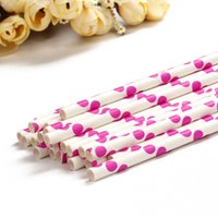 Wholesale Drinking Straws Red White - Wholesale-White Color Malachite Rose Red Point Paper Drinking Straw Sticks For Christmas Wedding Party Celebration Decorations Tableware