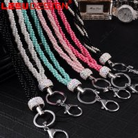 Wholesale Iphone Ring Mp3 - Cell Phone Faux Pearl Ring Lanyard Neck phone Strap For iPhone 7 For Samsung ID Card PSP MP3 Drop