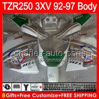 Wholesale Yamaha Silver Flamed Fairing - 8gifts silver flames Body For YAMAHA TZR-250 3XV TZR 250 92 93 94 95 96 97 88NO38 YPVS TZR250 1992 1993 1994 1995 1996 1997 white Fairing