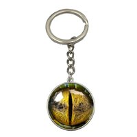 Wholesale Metal Dragon Car - New Three-dimensional Dragon Eye Silver Keychain Colorful Eye Pendant Glass Cabochon Dome For Man Fashion Car Key Chain NS65