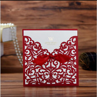 Wholesale purple wedding invitation envelopes - Lace Ribbon Bow Knot Wedding Invitation Card Vintage Laser Cut Hollow Flowers Blank Inside With Envelope Wedding Invitations Cards