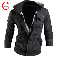 Wholesale double fleece - Wholesale-New Man Hoody Casual Sweatshirt Mens Brand Suit 3 Colors Fleece Hoodie Jackets Men Sportswear Hoodied Sweatshirt M-XXXL