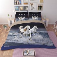 HD Print 3D White Horses Set biancheria da letto per animali Splash River Background Copripiumino Twin Completo Queen King Taglie 3pcs Biancheria da letto