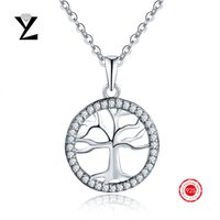 Wholesale New Fashion Tree of Life Cubic Zirconia Stone Pendant Statement Necklaces Vintage White Gold Plated Chain Choker Necklaces for Women
