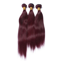 bakire remy örgü kırmızı toptan satış-8A Bakire Brezilyalı Bordo Saç Örgüleri # 99J Şarap Kırmızı Bakire Remy İnsan Saç Ipeksi Düz Brezilyalı Saç Demetleri 3 Adet / grup 300 Gram