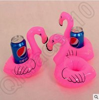 Wholesale Christmas Stocking Holders Wholesale - Flamingo Inflatable Drink Botlle Holder 12pcs pack Lovely Pink Floating Bath Kids Toys Christmas Gift For Kids Can Floats CCA4501 600pcs