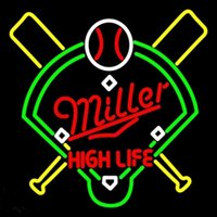 Miller High Life Baseball Neon Sign Hecho a mano Real Glass Store Bar KTV Club Motel Juego Publicidad Display Neon Signs 24