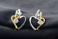 Wholesale Wedding Diamond Earings - Stud Earrings Diamond Earrings Heart Shaped Gold Plated Crystal Alloy Earings Fashion for Wedding Engagement Party Gift 2020656330