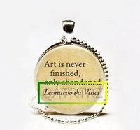 Wholesale Only Silver Jewelry - Wholesale Handcrafted Leonardo Da Vinci Necklace,Quote Art Is Never Finished Only Abandoned Art Pendant,Leonardo Da Vinci Jewelry