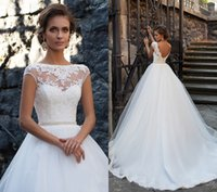 Wholesale Bateau Neckline Lace Wedding Dress - New Princes Open Back Wedding Dresses 2017 Milla Nova Sheer Neckline Lace Appliques Cheap Vestios De Novia Bridal Gowns with Pearls Sash