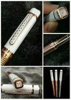 canetas quadradas venda por atacado-Frete grátis - Cópia Korloff Pen quadrado branco de cerâmica rosegolden Roller Ball Pen Luxo Pen - No Box