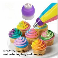 Wholesale Cupcake Decorating Bags - Wholesale- 3 Color Icing Piping Bag Nozzle Converter Tri-color Cream Coupler Cake Decorating Tools For Cupcake Fondant Cookie