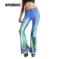 Wholesale Skye Leggings - New 0002 Sexy Girl Sport Pants Fashion Aurora Skye Blue Tree 3D Prints Elastic Fitness Bell bottoms Women Leggings Dance Party Plus Size