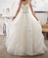 Wholesale Ball Gown Sweetheart Neckline Crystal - 2017 puffy princess beach wedding dresses organza tiers wedding gowns with crystals belt sweetheart neckline backless summer bridal gowns