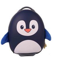 Wholesale Cartoon Penguin Bags - BB BAG® Children School Bag with Wheels Cartoon Penguin Bag EVA Cute Boys Girls Trolley Bag Kid Rolling Luggage Drop Shipping