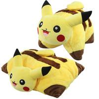 Wholesale Cute Japanese Plush Toys - Hot Sale 45*35cm Pikachu Plush Pillow Kawaii Japanese Anime Pikachu Plush Doll Toys Cute Eevee Sleep Cushion Soft Toys for Kids 096