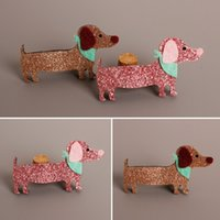 Wholesale Scarf Clips Wholesale - Wholesale- Sparkly Felt Dachshund Hair Clip Cartoon Glitter Dog Barrette with Scarf Cute Kid Pet Hair Pinch Bling Family Dog Girl Hair Grip