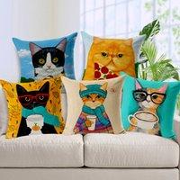 ingrosso dipinti ad olio sciarpe-Dipinti ad olio di colore Lovely Cat Pet Covers Covers Cartoon Cats Con Cappotti Sciarpa Occhiali Cuscino decorativo Lino Cotone Federa