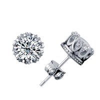 Wholesale Imperial Copper - Male and female models simple upscale silver jewelry imperial crown earrings super flash zircon Stud Earrings cute princess