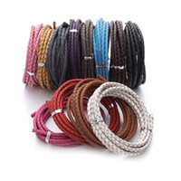 Wholesale Whipping Rope - 2 M leather whips genuine leather knit rope chains DIY pandora bracelet necklace rope material jewelry accessories