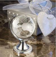 dekoratif bilyalar toptan satış-Düğün Hediyeleri Kristal Cam Küre dünya haritası Top El Yapımı Feng shui dekoratif Cam dünya küre Topları Ofis Ev Dekor Zanaat