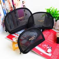Wholesale Net Mesh Case - Women famous brand 3pcs set net mesh cosmetic case luxury makeup organizer bag toiletry pouch clutch purse boutique VIP gift