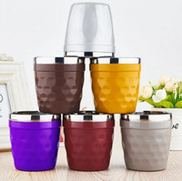 Wholesale Coffee Water Glass - Colorful Beer Coffee Mugs 180ML Stainless Steel Wine Glasses Child Water Cup Outdoor Scald Prevention Cups OOA2284