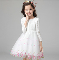 Wholesale Ladies Dress For Christmas Day - Long Sleeved Dress for Girls Autumn Bow Embroidered Lolita Lovely Pleated Spring Floral Ladies Children Clothing