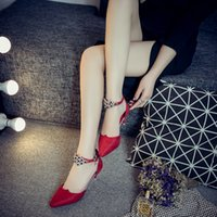 Wholesale Sandals Shallow - Fashion high-heeled shoes buckle sandals Black red gray Lady wedding shoes Shallow mouth Pointed high-heeled shoes