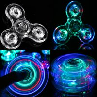 Wholesale Clear Crystal Balls - LED Spinner Fidget Acrylic Luminous Glitter Jelly Clear Fidget Spinner Crystal Hand Spinner Tri Fidget Ceramic Ball Desk top dhl oth440