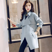 2018 Fashion Spring Blu navy lungo trench coat Slim-Fit da donna lungo giacca casual con cintura donna Casaco Overcoat MGG1107