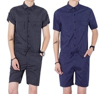 Wholesale jumpsuits for men - 2017 Harajuku Gothic Rompers For Men Mens Striped Jumpsuit Harem Cargo Overalls Summer Hip-Hop Casual Bibs Pants