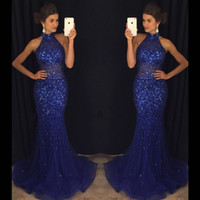 Wholesale Halter Mermaid Dress Bling - Glitz Bling Royal Blue Sequined Beadings Evening Dresses Formal 2017 Mermaid Halter Neck Long Party Occasion Gowns Prom Dresses