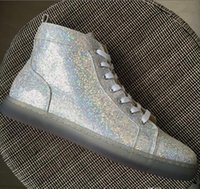 2017 New Fashion High Top White Glitter Chaussures Bottom Rouge pour Hommes Femmes Multicolore Gold Line Pink Purple Chaussures en cuir véritable